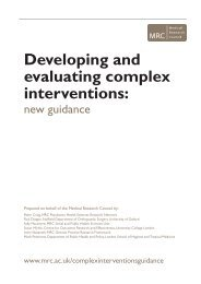 Developing and evaluating complex interventions: - MRC Social and ...