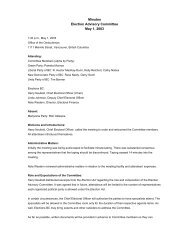 Election Advisory Committee - May 1, 2003 - Minutes - Elections BC