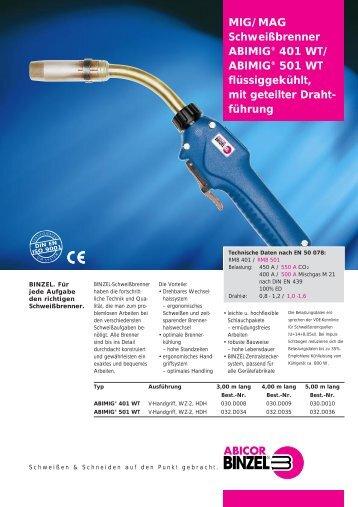 MIG/MAG Schweißbrenner ABIMIG® 401 WT/ ABIMIG® 501 WT ...