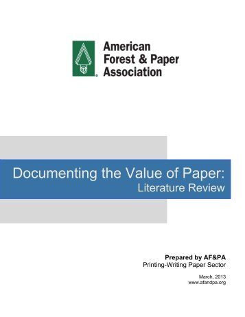 Literature Review: Documenting the Value of Paper - American ...