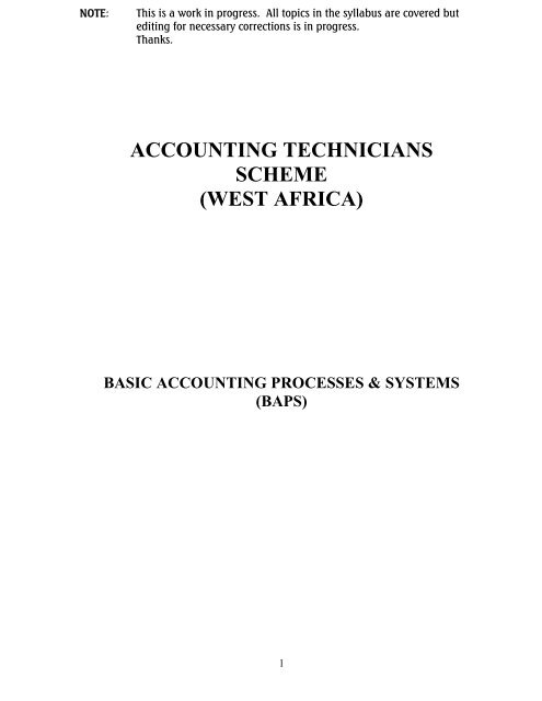ATSWA Study Pack - Basic Accounting Processes & Systems