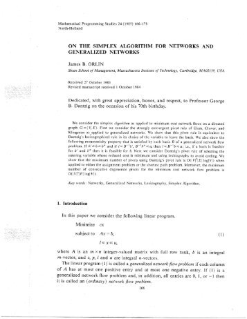 ON THE SIMPLEX ALGORITHM FOR NETWORKS ... - James B. Orlin