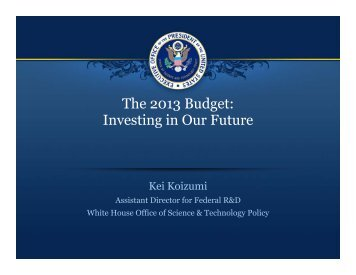 The 2013 Budget: Investing in Our Future - Office of Research