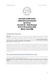 240 chefs et 300 étoiles célébration internationale ... - Alain Ducasse