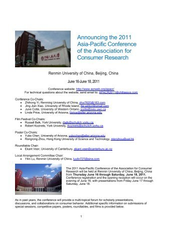 association for consumer research 2012 call for papers He has recently published in journal of business research, european journal of marketing, international journal of advertising, journal of consumer marketing, advances in consumer research, and recherche et applications en marketing (the french leading marketing journal) at the french marketing association (afm) he is responsible for.