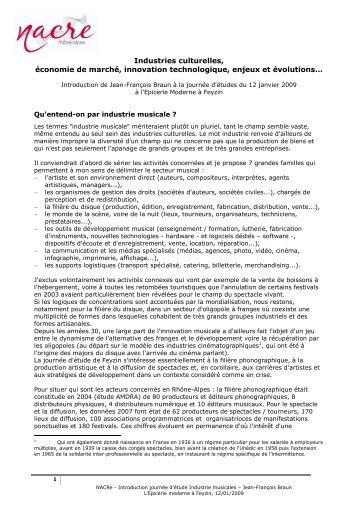 Industries culturelles, - La NACRe