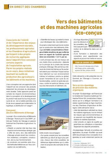 Vers des bâtiments et des machines agricoles éco-conçus