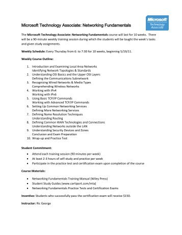 Microsoft Technology Associate: Networking Fundamentals