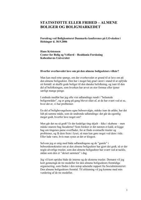 Hans Kristensens præsentation - Center for Boligforskning