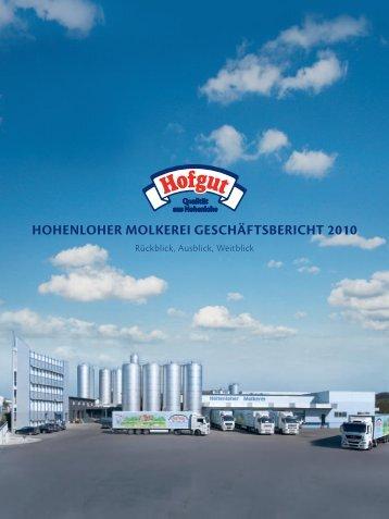 hohenloher molkerei geschäftsbericht 2010 - Hohenloher Molkerei eG