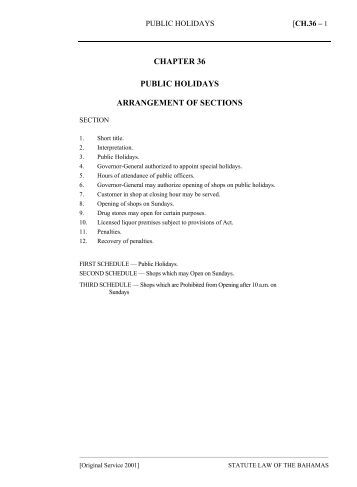 Public Holidays Act - The Bahamas Laws On-Line
