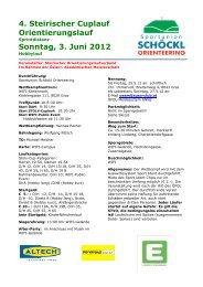 4. Steirischer Cuplauf Orientierungslauf Sonntag, 3. Juni 2012 - ÖFOL