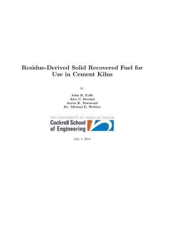 Residue-Derived Solid Recovered Fuel for Use in Cement Kilns