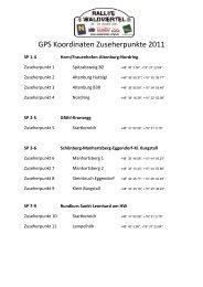 GPS Koordinaten Zuseherpunkte 2011 - Rallye Waldviertel
