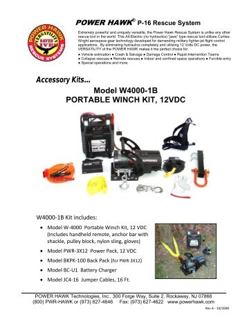 Accessory Kits… Model W4000-1B PORTABLE ... - Power Hawk