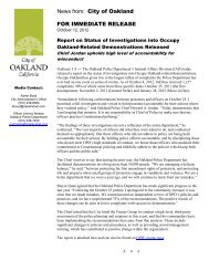 Report on Status of Investigations into Occupy ... - City of Oakland