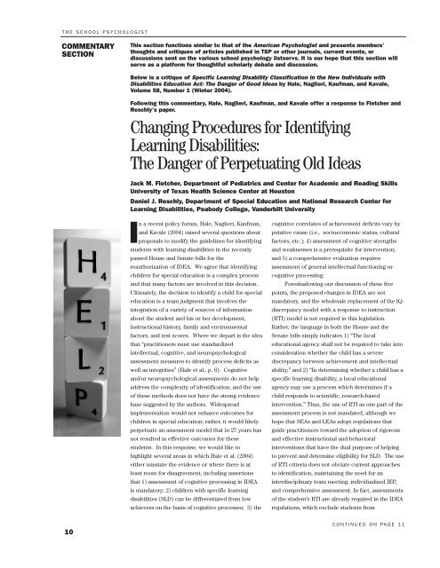 A Danger To Students With Disabilities >> Changing Procedures For Identifying Learning Disabilities The