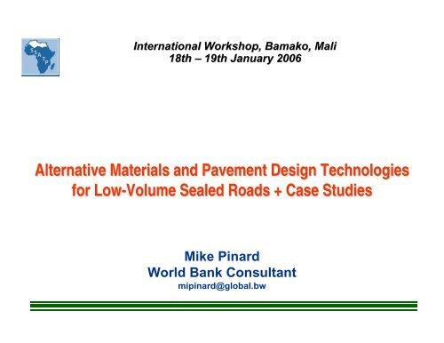 Alternative Materials and Pavement Design     - World Bank