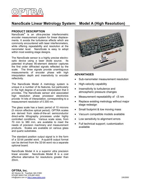 NanoScale A Linear Encoder - OPTRA
