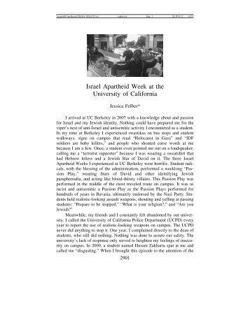 Israeli Apartheid Week at Berkeley - Journal for the Study of ...