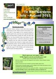 July-August 2011 newsletter - Te Rito Gardens