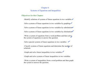 Chapter 6 Systems of Equations and Inequalities Objectives for this ...