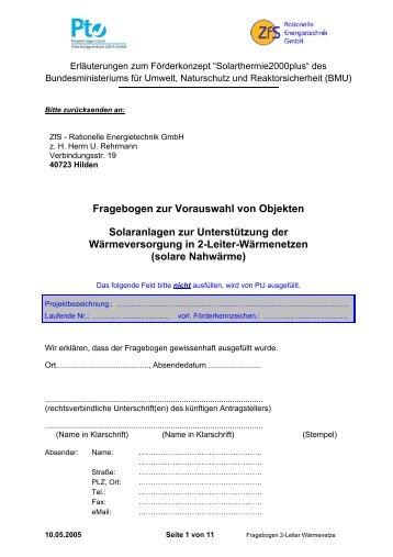 Fragebogen Solare Nahwärmenetze - Solarthermie2000plus