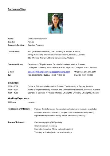 curriculum vitae education working experience research of
