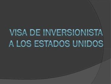 Visa de Inversionista a Los Estados Unidos