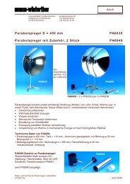 Parabolspiegel D = 450 mm PA6039 Parabolspiegel mit Zubehör,  2 ...