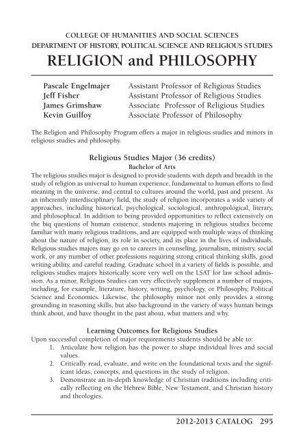 RELIGION and PHILOSOPHY - Carroll University