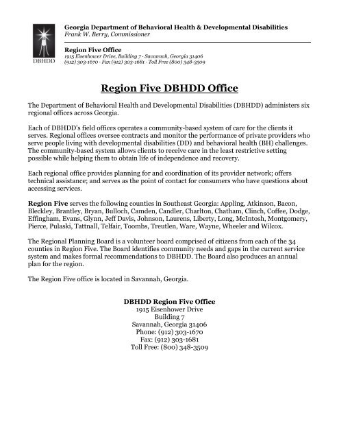 Region Five DBHDD Office - Department of Behavioral Health and ...