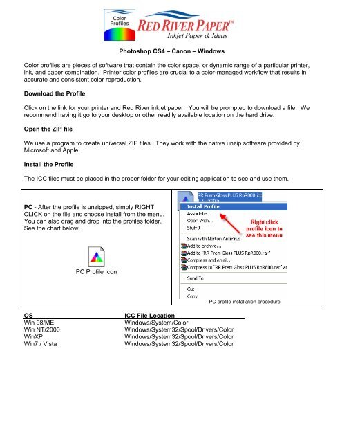 Photoshop CS4 – Canon – Windows Color     - Red River Paper