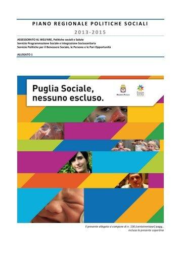 piano regionale politiche sociali 2013-2015 - Regione Puglia