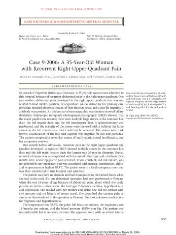 Case 9-2006: A 35-Year-Old Woman with Recurrent Right-Upper ...