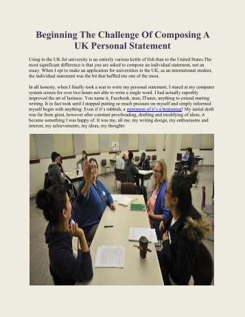 Beginning The Challenge Of Composing A UK Personal Statement