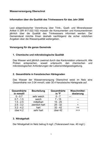 Wasserversorgung Oberschrot Information über die Qualität des ...