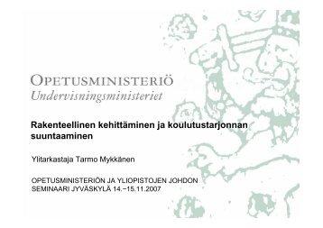 Ylitarkastaja Tarmo Mykkänen - Opetusministeriö