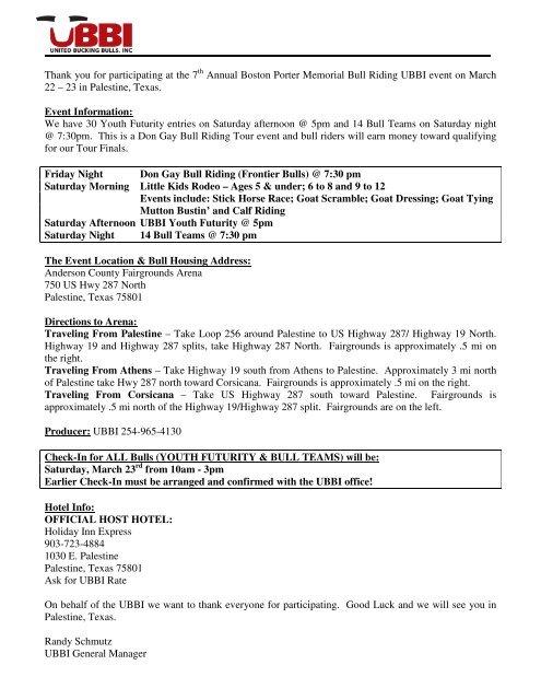 participant letter - United Bucking Bulls