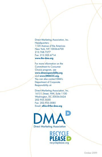 Commitment to Consumer Choice - Direct Marketing Association