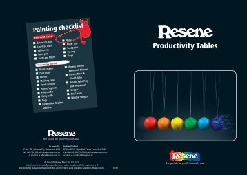 Productivity tables for Resene Paints products