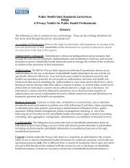 Public Health Data Standards Consortium PRISM A Privacy Toolkit ...