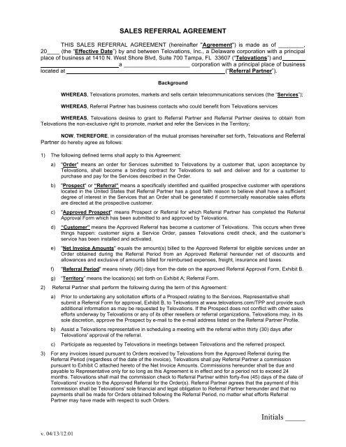 Telovations Referral Partner Agreement V04 13 Telovations Inc