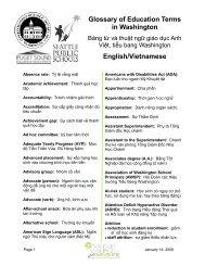 Glossary of Education Terms in Washington English/Vietnamese
