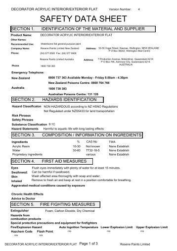 Safety Data Sheet For Resene Paints Decorator Acrylic