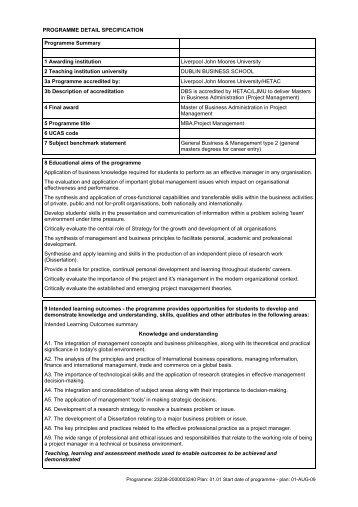 Project Management - Liverpool John Moores University