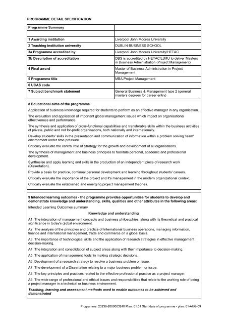 Project Management Liverpool John Moore University Of Dissertation Guidelines Guideline