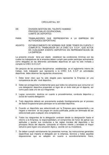 CIRCULAR Nro. 001 DE: DIVISION GESTION DEL TALENTO ... - Chec