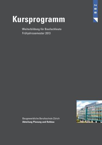Kursprogramm - Baugewerbliche Berufsschule Zürich