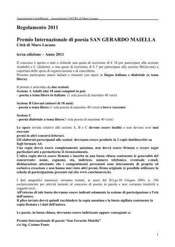 Regolamento 2011 Premio Internazionale di ... - Concorsi Letterari